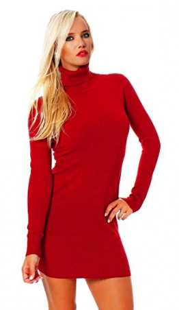 10648 Fashion4Young Damen Strick Minikleid LongPullover Pullover Pulli Kleid in 6 Farben 2 Größen (L/XL=38/40, Rot) - 1